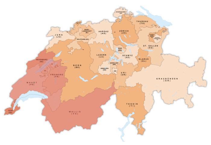 Карта консульских округов в Швейцарии