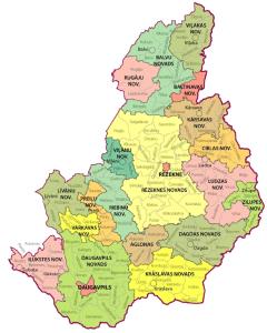 Карта консульского округа в Даугавпилсе Латвия