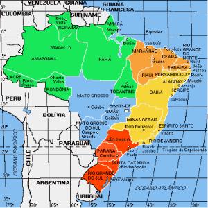 Карта консульского округа генконсульства России в Рио-де-Жанейро