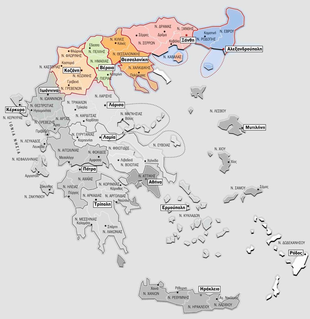 Карта консульского округа генконсульства России в Салониках Греция