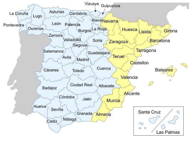 Консульские округа в Испании.