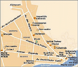 Карта посольства России в ЦАР