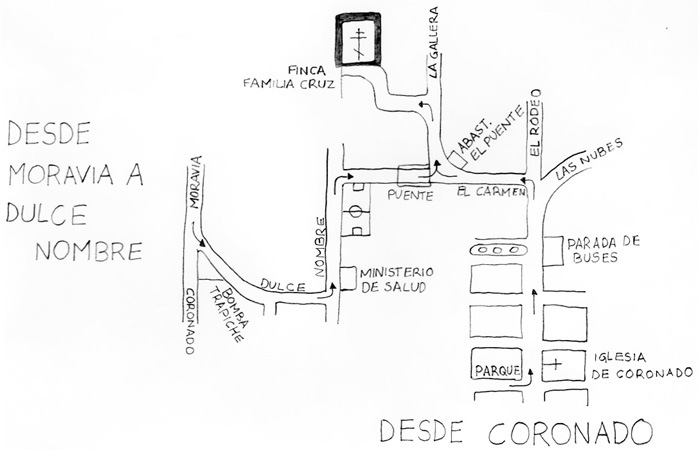 Схема дороги к Храму в Коста-Рике