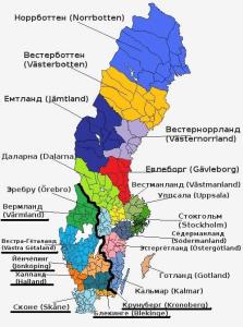Карта консульских округов в Швеции