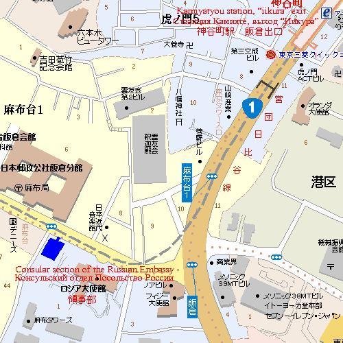 Карта консульского отдела в Токио