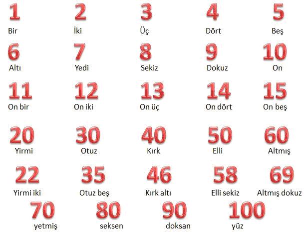 Числа 1 - 100