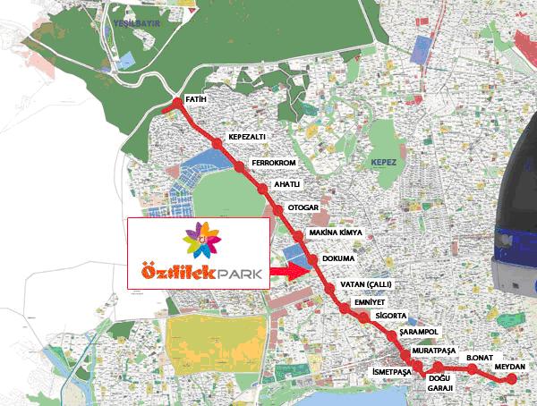 Схема маршрута трамвая ANTRAY