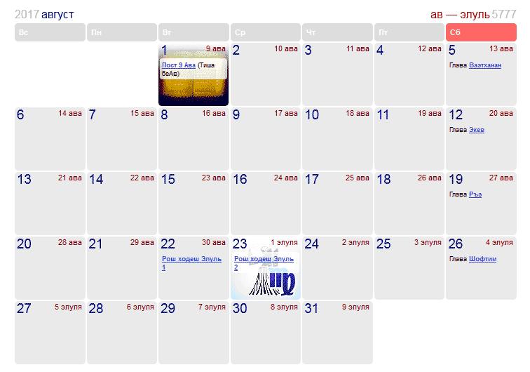 Праздники и памятные даты в Израиле в августе 2017 года