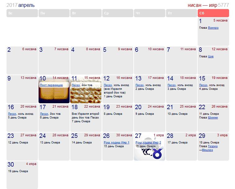 Праздники и памятные даты в Израиле в апреле 2017 года