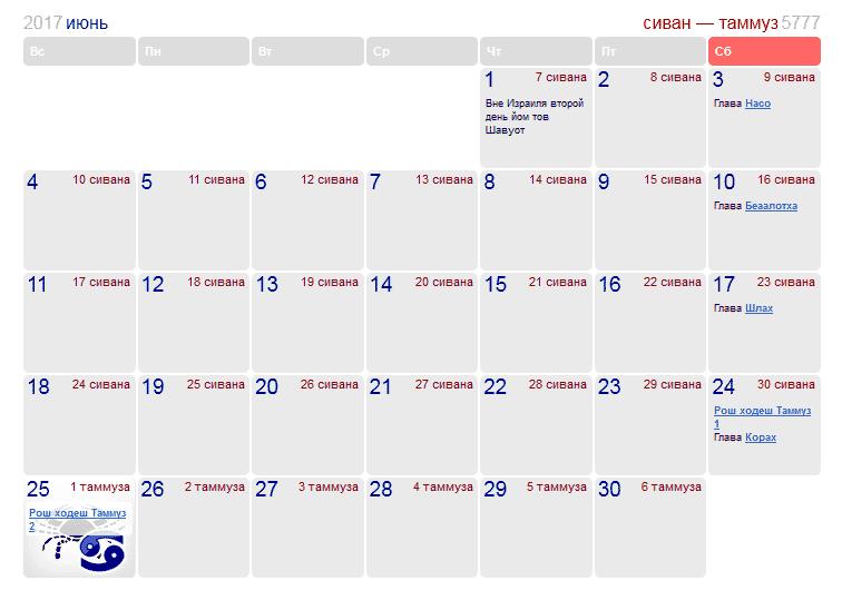 Праздники и памятные даты в Израиле в июне 2017 года