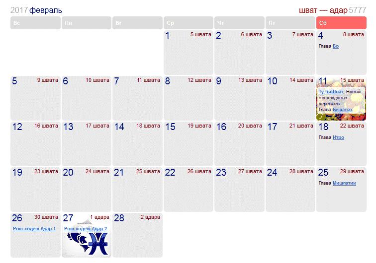 Праздники и памятные даты в Израиле в феврале 2017 года