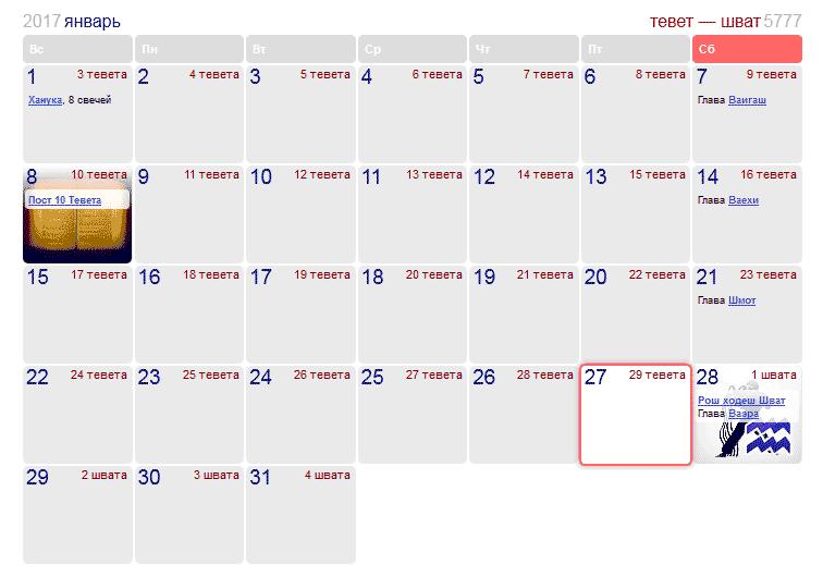 Праздники и памятные даты в Израиле в январе 2017 года